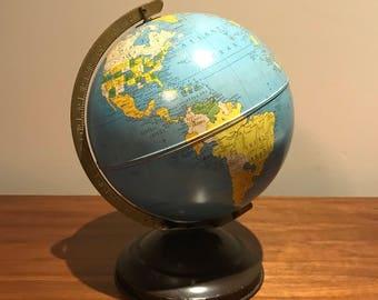 Vintage 1940's 8 inch metal  Simplified Replogle Globe