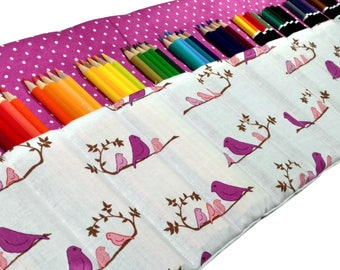 Mothers Day Gift, Bird Pencil Case, Holds up to 60 Color Pencils