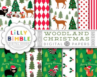 Woodland Christmas digital papers animals bear, raccoon, squirrel, deer, owl, hedgehog, fox forest Scrapbooking Paper