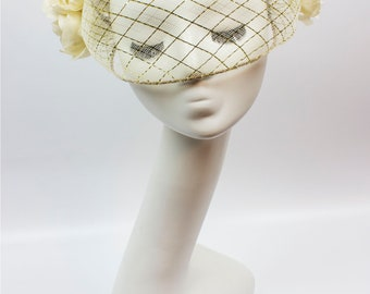 Gold & Ivory Floral Veil - Millinery by Amy Fowler
