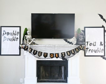 Not Digital Double Double and Toil and Trouble Halloween oversized artwork decor Print
