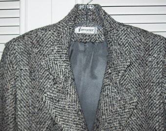 Coat 12, Forecaster Herringbone Wool Three-Quarter Winter Find Size 12