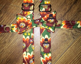 Thanksgiving outfit/ suspender set/ bow tie boys/toddler/infant tie/turkey/pilgrim/pumpkin /perfect for Thanksgiving dinner, family pictures