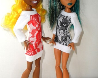 Dresses with lace, Monster High, Ever After High, doll clothes
