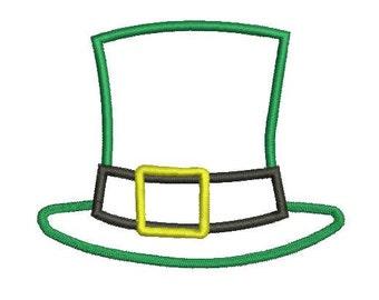 6 sizes - St Patrick's Day Hat Applique Design, Shanrock Hat Applique Design, St. Patricks Day Embroidery Design, Machine Embroidery
