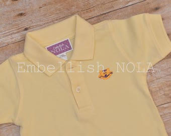 Monogrammed Tiger Embroidered Collared Shirt