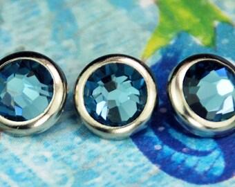 10 Jean cristal cheveux boutons pressions - ronde argent jante édition--faite avec des strass Swarovski Element