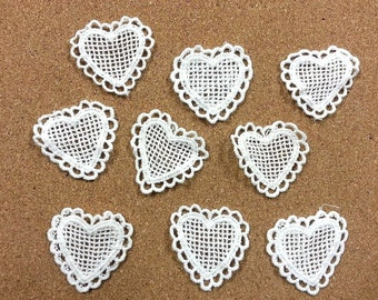 CraftbuddyUS LM9- 10 Ivory Vintage Lace Applique Guipure, Sew On Fabric Heart Crochet Motifs