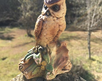 Vintage Orzeck Terrestone Owl Figurine--Owl Collector--Owl Lover--Group Decor Piece--Shabby Farmhouse Cottage Style--Woodsy Bird Statue