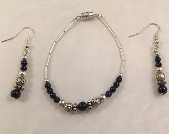 Sparkly black stone bead bracelet and earrings