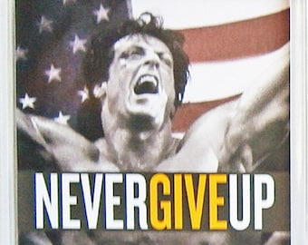 Rocky IV Sylvester Stallone Burt Young Talia Shire movie poster quotes Square Fridge Magnets & Square Keyrings New - Change Never Give Up