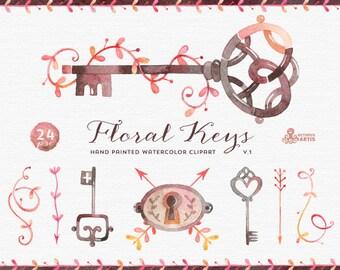Floral Keys Watercolor v1: 24 Hand painted Clipart, keys, arrows, keyholes, floral, borders, doodles, diy elements, vintage, invite, wedding