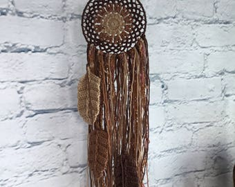 Dream Catcher Crocheted in Browns and Tans Feathers Wall Hanging Home Decor