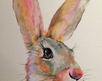 "Hare 12"" x 10"" Original watercolour painting"