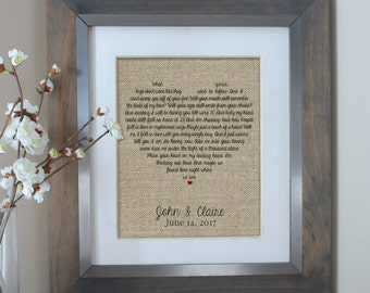 Song Lyrics Art, Wedding Gift, Wedding Anniversary Gifts, Unique Wedding Vows Art, First Dance Song Lyrics Print, Gift Christmas Wife Gift
