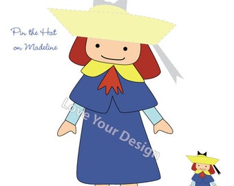 Madeline Game for Birthday Party- Pin the Hat on Madeline- printable digital jpeg files INSTANT DOWNLOAD