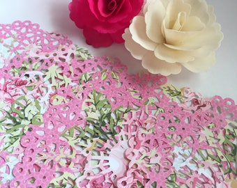 Pink floral Doilies