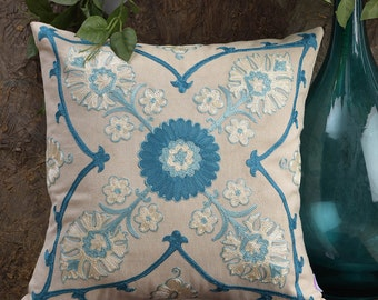 """Floral Galore Embroidered Blue Cushion Cover, Suzani Pattern,Standard Size 16"""" x 16"""", CC00031"""