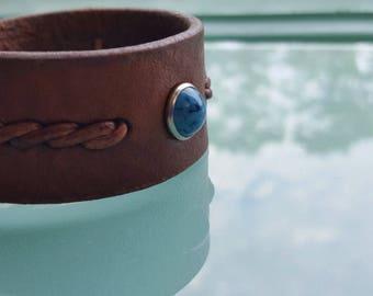 REYES - WIDE Leather Cuff Bracelet, Men's Women's Braided Leather Bracelet w/ 10 mm Turquoise Rivet, Native American Style Wrist Band, Boho