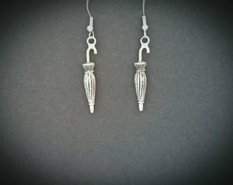 Umbrella Inspired Drop Earrings. Silver plated Hooks.