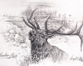 Mountain Music, Elk, pencil drawing of the Majestic Rocky Mountain Elk in the wilderness, s/n limited edition print