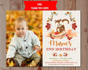 Photo Squirrel birthday invitation Squirrel invitation printable Woodland animals Forest party supplies First birthday outfit Thank you tags