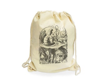 Alice in Wonderland and the caterpillar organic gymsack-Alice in wonderland gym sack-cool gym bag-drawstring bag-alice in wonderland-NGS024