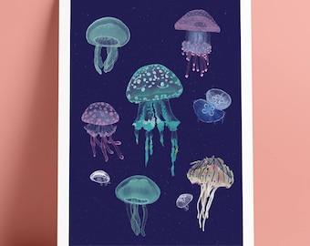 A4 Jellyfish Art Print