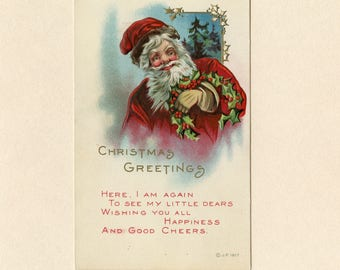 Antique Merry Christmas Postcard Santa Claus in Red Suit and Holly Looking Tired After Long Night by James E Pitts Embossed Unused - 8995Pa