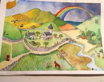 Rainbow pony mountain greeting card