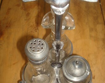 Antique Silver Plate Floral Condiment Cruet Set Cut-Glass