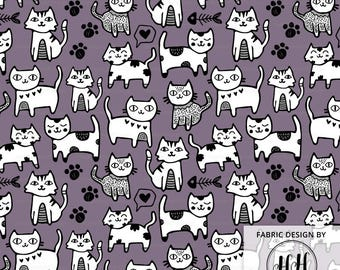 Kitten Around Fabric By The Yard Purple - Cute Cat Doodle Whimsical Crafting Print in Yards & Fat Quarter