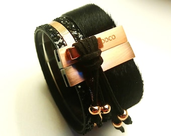 leather cuff black gold pink and glittery black