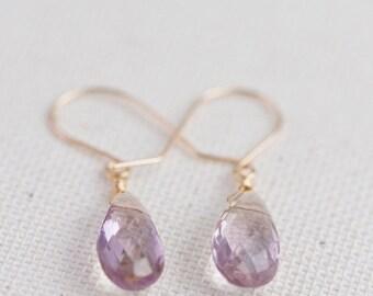 Ametrine Simple Earrings, Ametrine Teardrop Earrings - for Her, byJTSjewelry