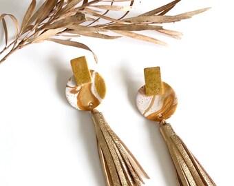 Leather Tassel Earrings, Polymer Clay Earrings, Gold Marble Earrings, Statement Earrings.