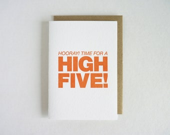 Hooray! Time For A High Five! – Letterpress Card