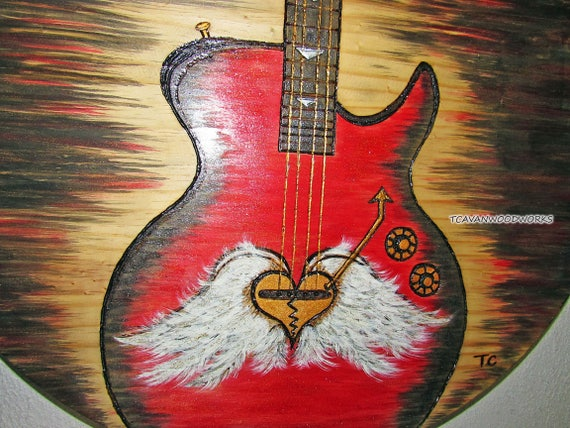 Bass Guitar Art Red Painting Electric Bassist Musician Player Wall