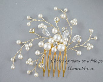 Bridal comb, Ivory pearls gold hair piece, Wedding hair accessories, White pearls hair comb, Flower hair vines, Rhinestone Crystal comb
