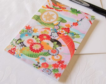 Kimono Fabric Greeting Card // Traditional Florals