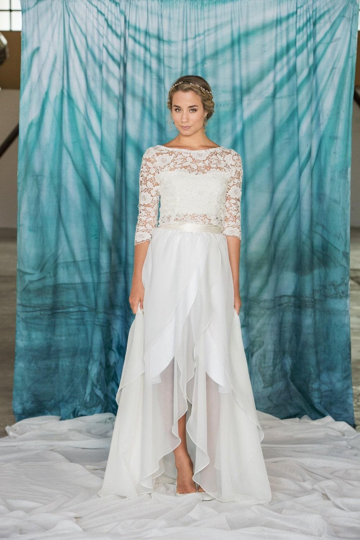 Bridal skirt chiffon wedding skirt hilo wedding skirt wrap