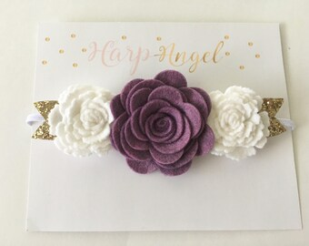 Plum Purple & White Rose Wool Felt Flower Crown Headband Gold or Silver Leaves Newborn / Baby / Girls / Toddler