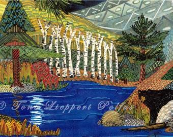 "Black Bear Lake Painting, 8"" x 10"" print of original watercolor painting, northwoods art, bear artwork, cabin decor, landscape painting"