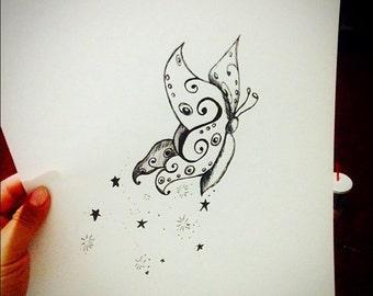 Butterfly, Sparkles, Kid Art, Butterfly Drawing, Art for Girls, Art for Kids