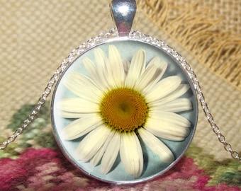 Daisy Flower Pendant/Necklace Jewelry, Daisy Necklace Jewelry, Flower Photo, Photo Jewelry Glass Pendant Gift