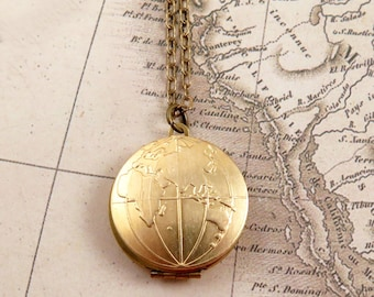 Wanderlust Globe Locket Necklace Globe Necklace Travel Gift World Map Locket Necklace Travel Gift Bon Voyage Gift