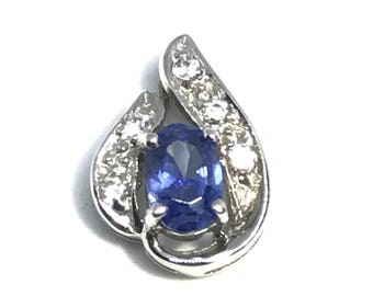 Sterling Silver Pale Blue and CZ Pendant , Cubic Zirconia Jewelry, .925, Charm,