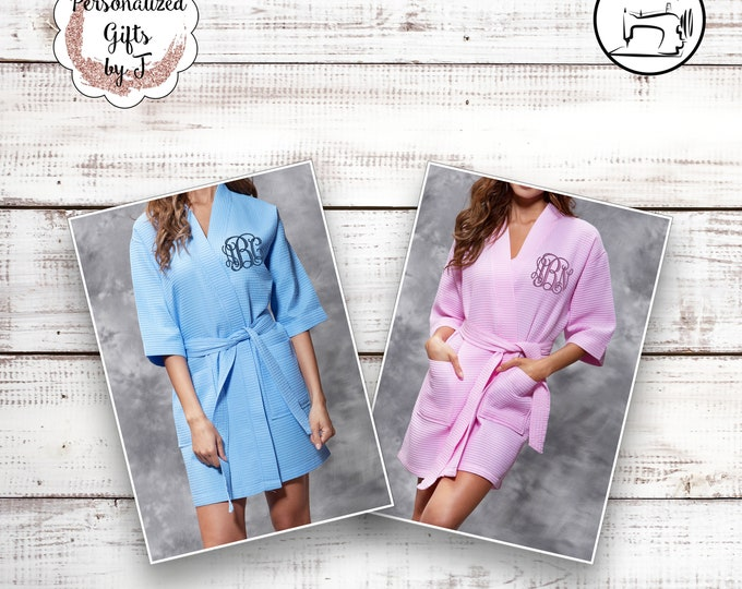 5 Getting Ready Robes, Personalized Bridesmaid Robe, Set of 5 ,Monogrammed Robe, Waffle Robe, Personalized Bridesmaid Gifts, Wedding Robes