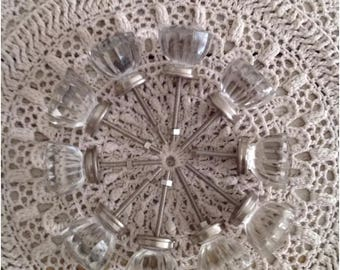 """Collection of 10 Clear Glass Vintage Inspired Knobs 1 1/2"""" Diameter"""
