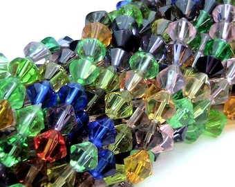 1 strand 83p mixed beads glass bicone 4mm