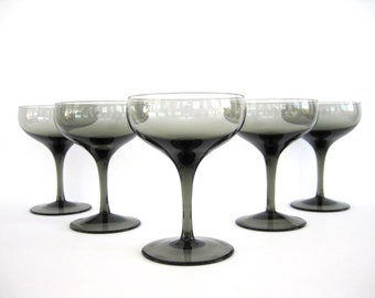 Mid Century Champagne Glass Smokey Stemware Set of 5 Tall Sherbet Fine Crystal Barware American Cookware Japan
